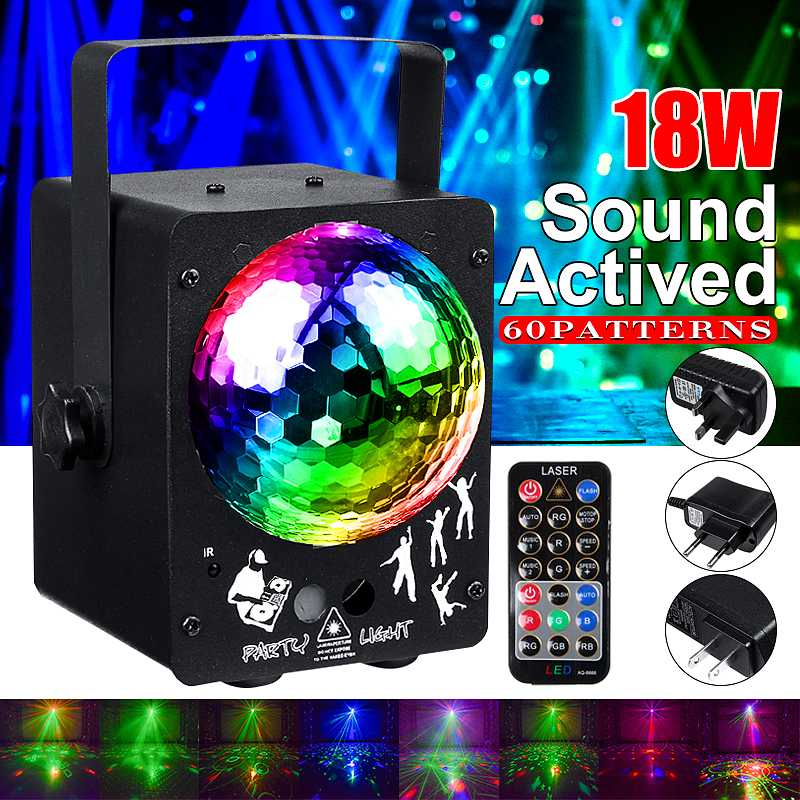 18W RGB Stage Light 60 Patterns Laser Projector Sound Activated Disco Ball Party Lighting Effect For Christmas KTV Wedding