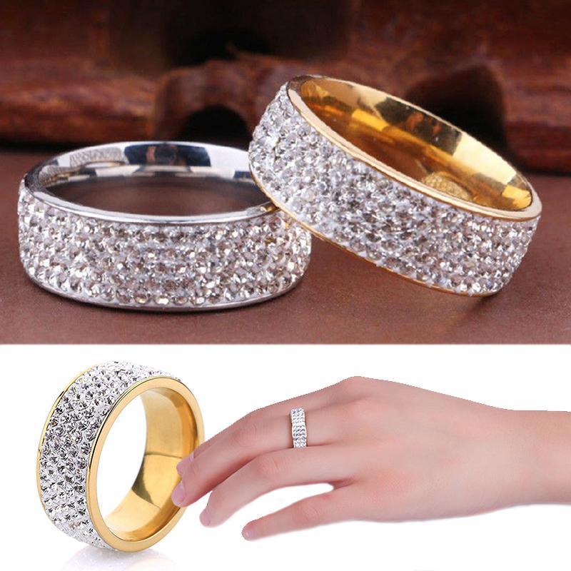 2020 Women Men Luxury Stainless Steel Ring Crystal Rhinestone Wedding Engagement Ring Band Fashion Jewelry Size 7 12