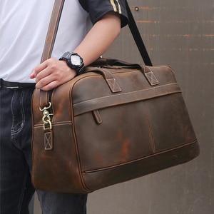 Image 2 - MAHEU deri küçük seyahat çantası adam için Vintage inek deri seyahat bagaj çantası deri crossbody omuzdan askili çanta seyahat çantası