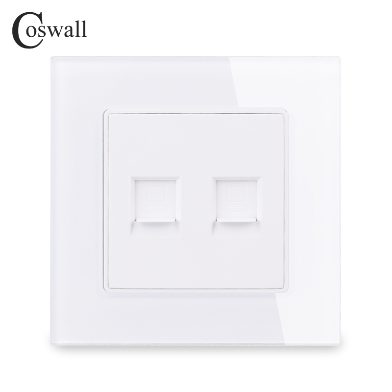 COSWALL Crystal Tempered Glass Panel Wall Socket Double RJ45 CAT5E Internet Computer Data Connector C1 Series