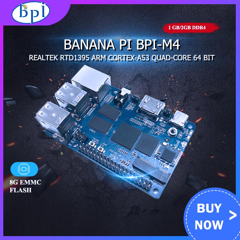Banana Pi BPI M4 1GB/2GB RAM Realtek RTD1395 ARM 64 Bit Extension Board TF Card Support 8G EMMC WiFi 802.11b/g/n Bluetooth
