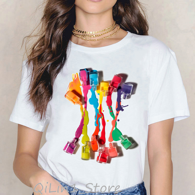 Vogue Rainbow nail polish print tee shirt femme vintage t shirt women clothes 2019 summer top female harajuku aesthetic tshirt