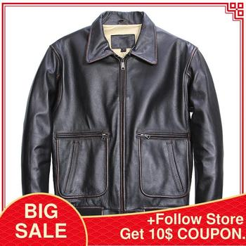 цена на 2020 Vintage Black Men American Pilot Leather Jacket Plus Size XXXL Genuine Cowhide Autumn Aviator Leather Coat FREE SHIPPING