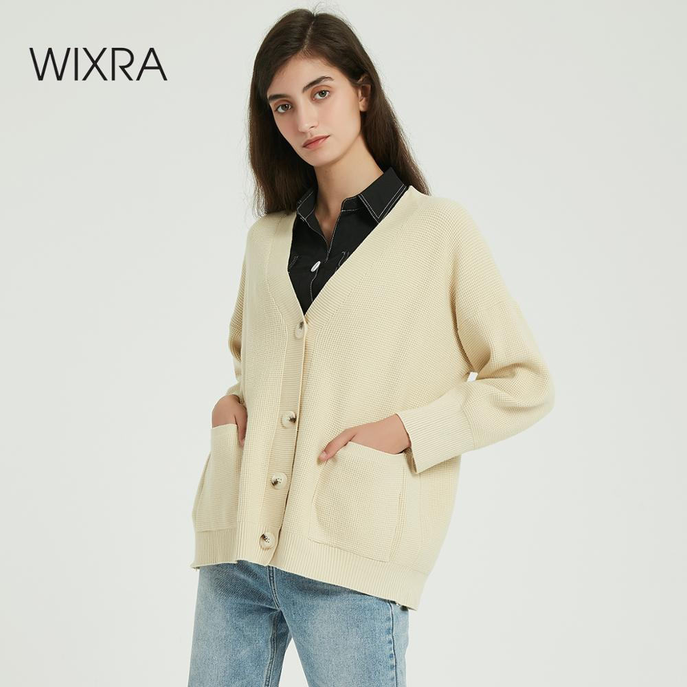 Wixra Women Knitted Cardigan Sweater Autumn Winter Casual V-Neck Long Sleeve Pockets Loose Knit Sweater Coat Female Tops