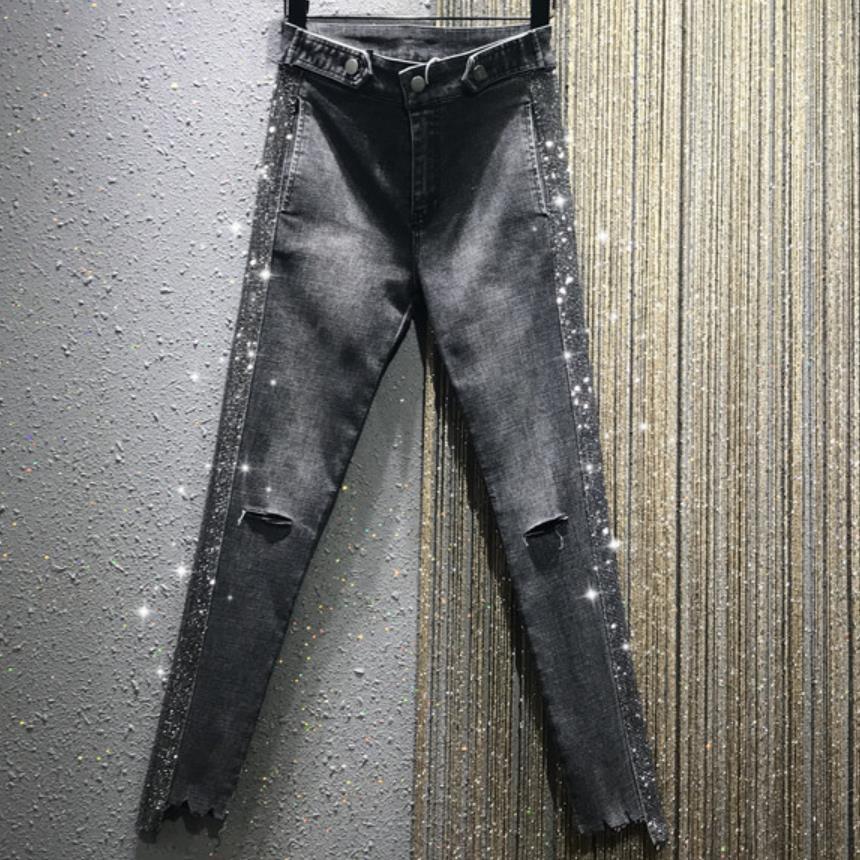 2019 Autumn New FASHION High Waist Heavy Work Rhinestone Hot Drilling Women Skinny Hole Pencil Jeans