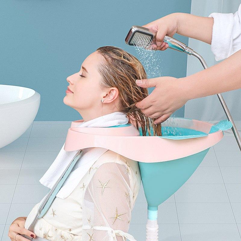 Soft Portable Shampoo Basin Medical Easy Sit Hair Washing Basin Tray For The Disabled Pregnant Women Old Man Fold Nursing Supply