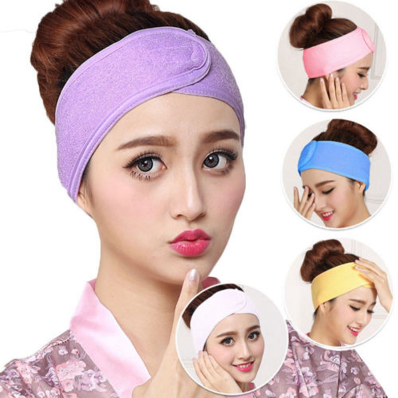 Women Girl Spots Dot Bowknot Hair Wrap Band Towel Face Makeup Headband TO