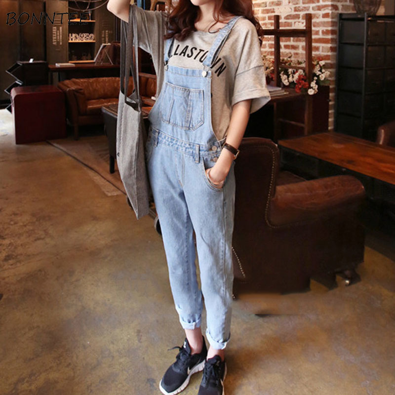 Jumpsuits Women 2020 Spring Trendy Korean Strap Trousers Denim Womens Casual Students Fashion Pockets Slim All-match Soft Simple
