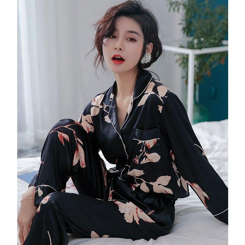Youhottest Long Sleeves Pijama Women Nature Silk Pajamas