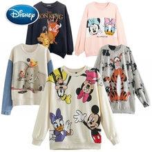 Disney tişörtü Mickey Mouse Bambi geyik tavşan prenses karikatür mektup baskı moda kadınlar uzun kollu Harajuku gevşek üstleri