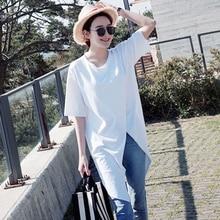 Women Short Sleeve Blouse White Deep o-Neck Split Long Blouse Casual Long Style Office Blouse Female Holiday Vestido Size S-2XL blouse lenitif blouse