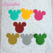 101mm Acrylic Christmas Mouse Head Tags Christmas Ornaments Monogram Mouse Tree Tags Clear Glitter Laser Cutout 4inches-AC1035