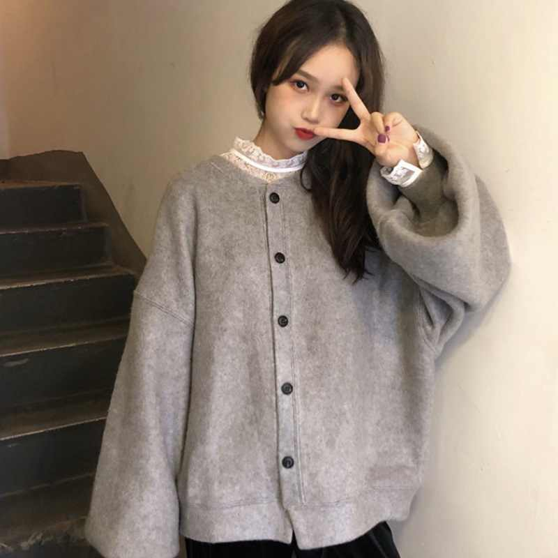 Herbst Frauen Winter Lose Jacke Warme Koreanische Harajuku Taste Gothic Weibliche Outwear Mantel Warme Casual Strickjacke
