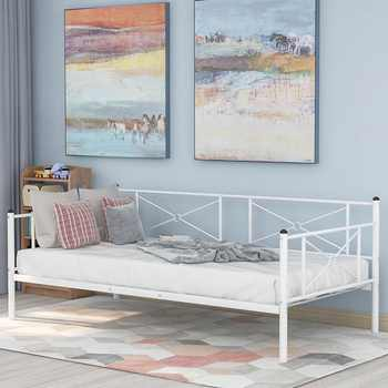 Sofa Bed Modern Single Platform Beds Metal Daybed Frame With Steel Slats Bedroom Furniture - DISCOUNT ITEM  25 OFF All Category