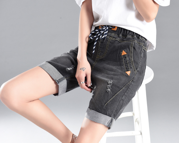 Nice Summer Women High Waist Denim Shorts Knee Length Elastic Jeans Classic Blue Jeans