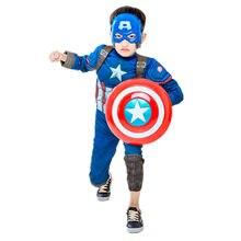 Crianças filme fantasia super-herói capitão inverno cosplay traje muscular menino/menina halloween máscara escudo carnaval suprimentos