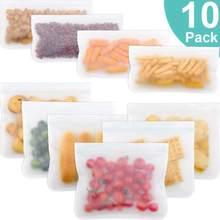 VKTECH 10 шт. PEVA силиконовый Пакет для хранения продуктов многоразовый пакет для морозильной камеры герметичные пакеты с замком на молнии кухон...