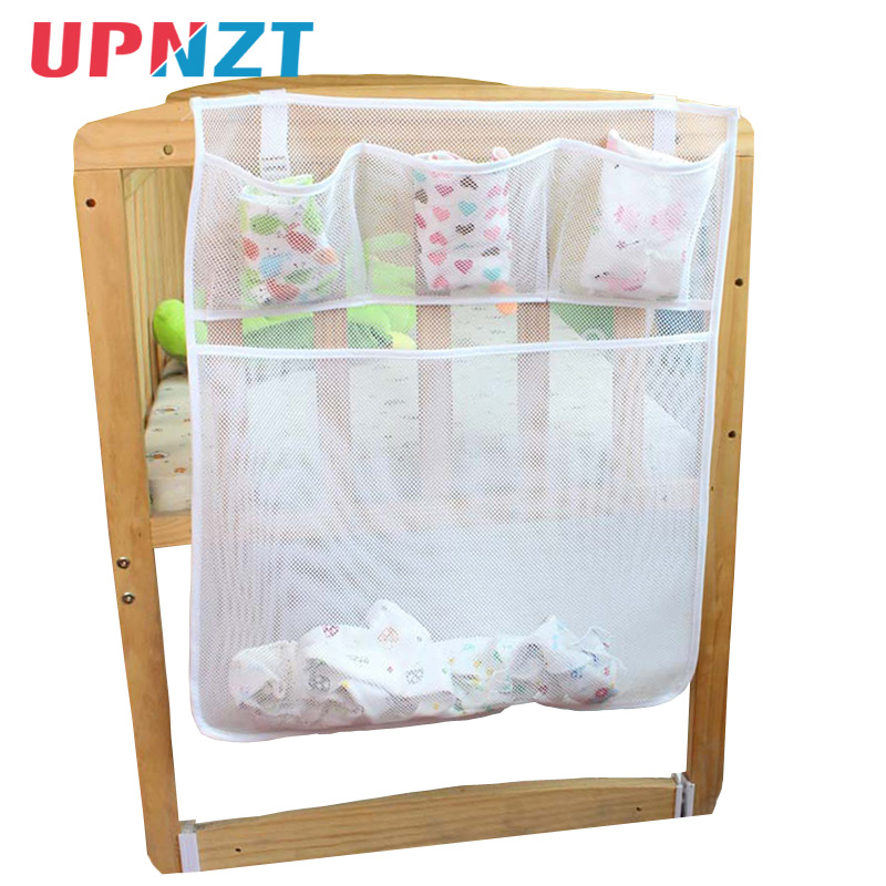 50*60CM Mesh Fabric Baby Bed Hanging Storage Bag Crib Organizer Toy Diaper Pocket For Cradle Bedding