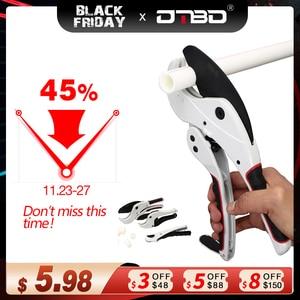 DTBD PVC Pipe Cutter 36mm 42mm 64mm Aluminum Alloy Body Ratchet Scissors Tube Cutter PVC/PU/PP/PE Hose Cutting Hand Tools