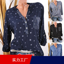 High quality large size women's cotton and linen blouse 2020 spring new tops product sequins can pul