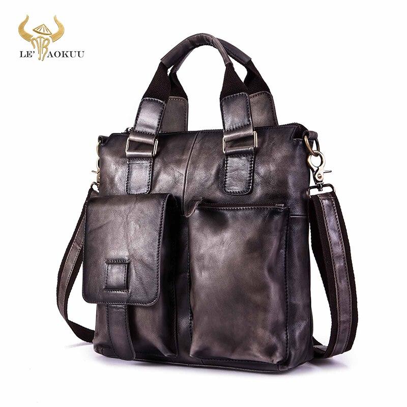 Men Original Leather Fahion Maletas Business Briefcase 12