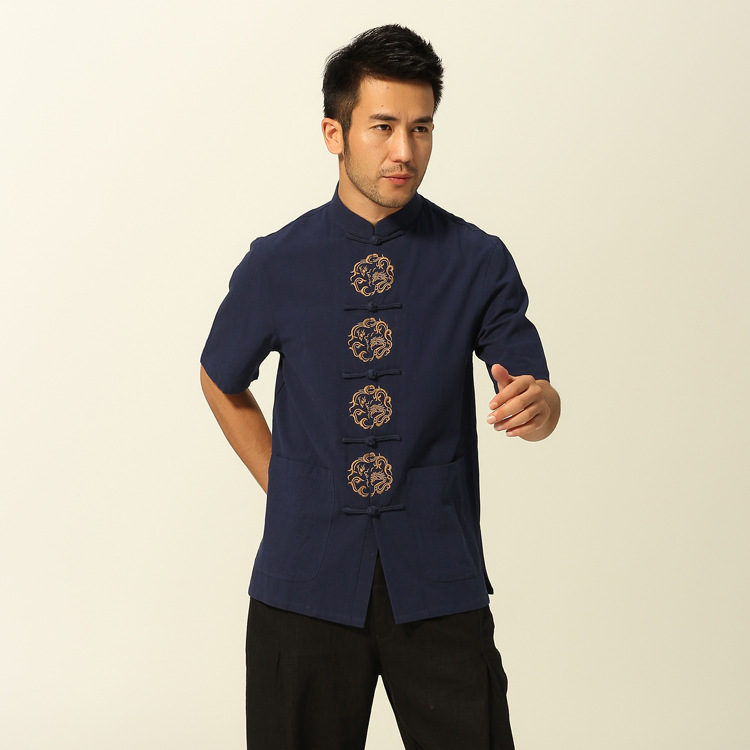 MEN'S Wear Summer Chinese Costume Short-sleeved Top Chinese Style Ethnic-Style Placket Embroidered Round Dragon Cotton Shirt