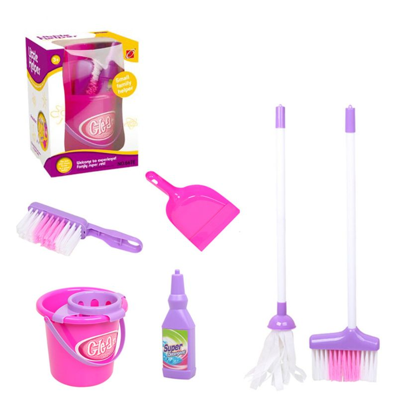 Cleaning Play Set Kids Role Play 6 Piece Broom Mop Bucket Dustpan Cleaning Play Toys