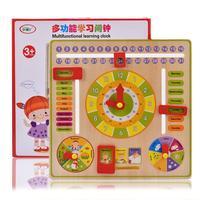 Juguetes de madera Montessori para bebés, calendario, tiempo, reloj, cognición, enseñanza preescolar, ayuda, Juguetes