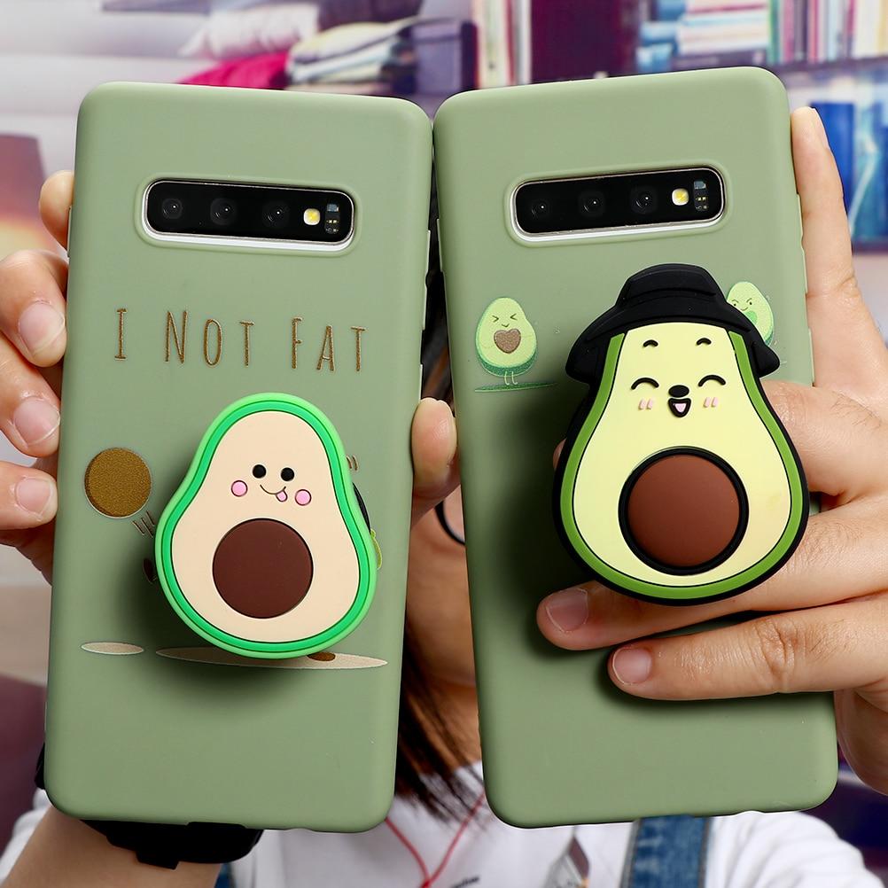 3D Avocado Case For Samsung Galaxy A51 A71 A30 A50 A70 A40 A10 A20 Holder Cover For Samsung S20 Ultra S10 S9 S8 Plus S7 A20e