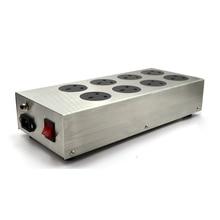 Monosaudio uk800 alta fidelidade usina de filtro de energia uk soquete 8 maneiras ac condicionador de energia audiophile purificador