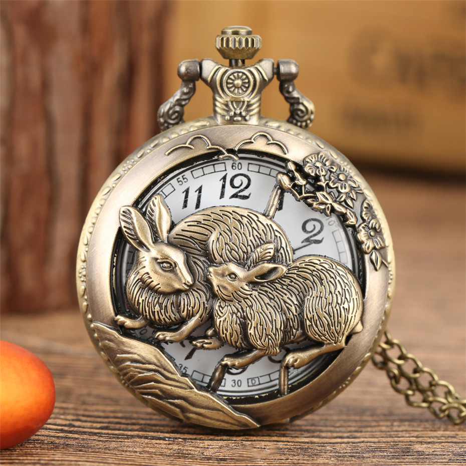 Exquisite Hollow Zodiac Hare Design Quartz Pocket Watch Bronze Pendant Clock With Necklace/Pocket Chain Antique Clock Gift