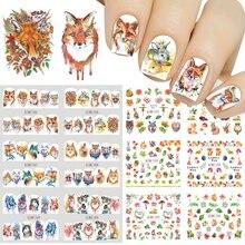 12pcs Animale Sveglio Completa Wraps Nail Sticker Acqua Decalcomanie Trasferimento FAI DA TE Volpe il Lupo Owl Coniglio Del Fumetto Della Decorazione Cursore JIBN1285 1296
