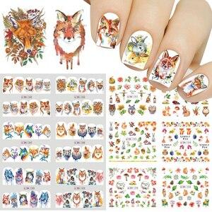 Image 1 - Adesivos de decoração para unhas 12pçs, adesivos bonitos para unhas, decalques de água, diy, raposa, wolf, coruja, desenho animado, deslizante de decoração JIBN1285 1296
