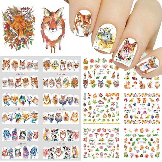 Adesivos de decoração para unhas 12pçs, adesivos bonitos para unhas, decalques de água, diy, raposa, wolf, coruja, desenho animado, deslizante de decoração JIBN1285 1296