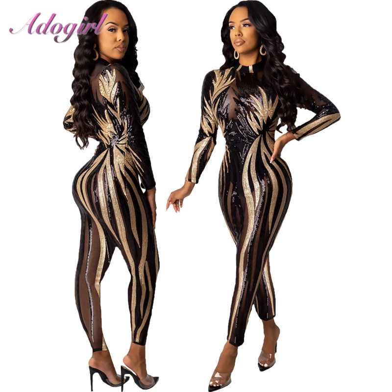 Sexy Floral Sequin Sheer Mesh Night Party Club Skinny Jumpsuit Women 2020Mock Neck Long Sleeve Romper Outfit Streetwear Overalls