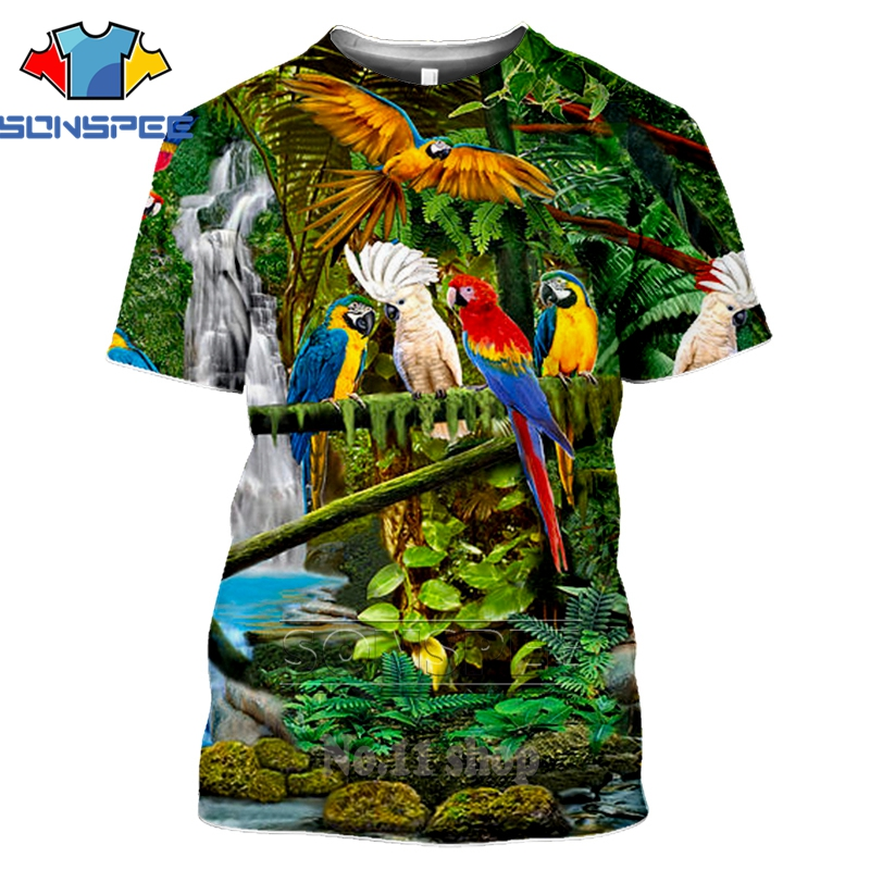 Parrot move Wings Casual Casual Women Men T Shirt 3D Print Short Sleeve Tee Top