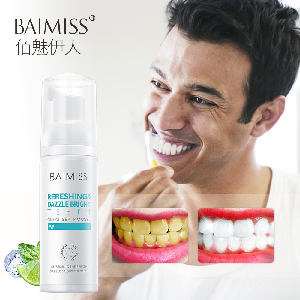 BAIMISS Teeth Whitening Mousse Fresh Shining Tooth-Cleaning Toothpaste Oral Hygiene Removes Plaque Stains Bad Breath Dental Tool