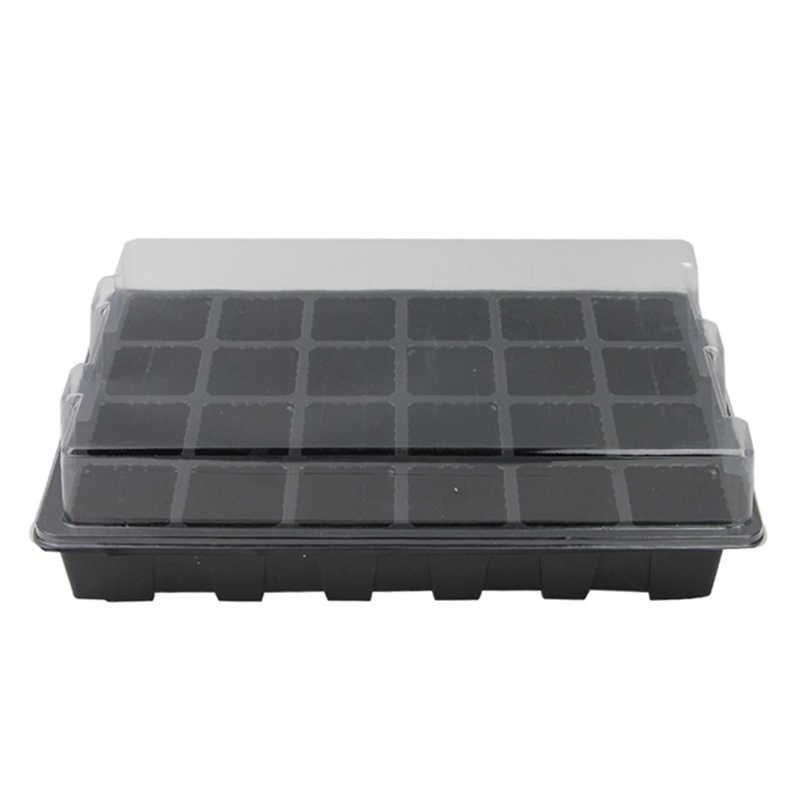 3 Pcs 24 Holes Family Household Seedling Box Tray Nursery Case Plastic Black