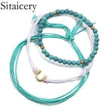 Sitaicery 3 Pcs/set Boho Bracelet Blue Color Beads Summer Womans Accesories Fashion Party Jewelry Charm Set