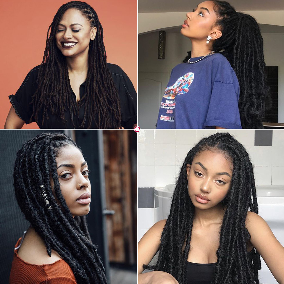 Magic Wigs Dread Locks Afro Crochet Braids 60CM Blonde Brown Synthetic Lace Front Wig For Black Women Faux Locs Crochet Hair