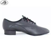 Sapato de dança padrão masculino bd 309 salão de baile sapatos de couro macio dancesport split único moderno sapato preto napped couro único