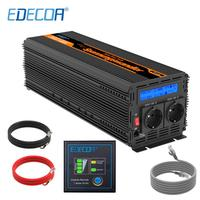 EDECOA 2500W 5000W DC 12V to AC 220V 230V 240V power inverter pure sine wave with remote controller LCD display