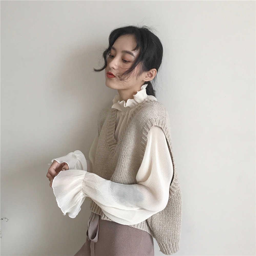 春秋の女性の韓国シックなベストルーズ半袖 V ネックニットベストベージュ女性の衣服ワンサイズ