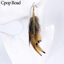 Cpop vintage Boho Feather Earrings Ethnic Beads zircon chain Tassel statement Earring fashion Jewelry hot sale women Accessories