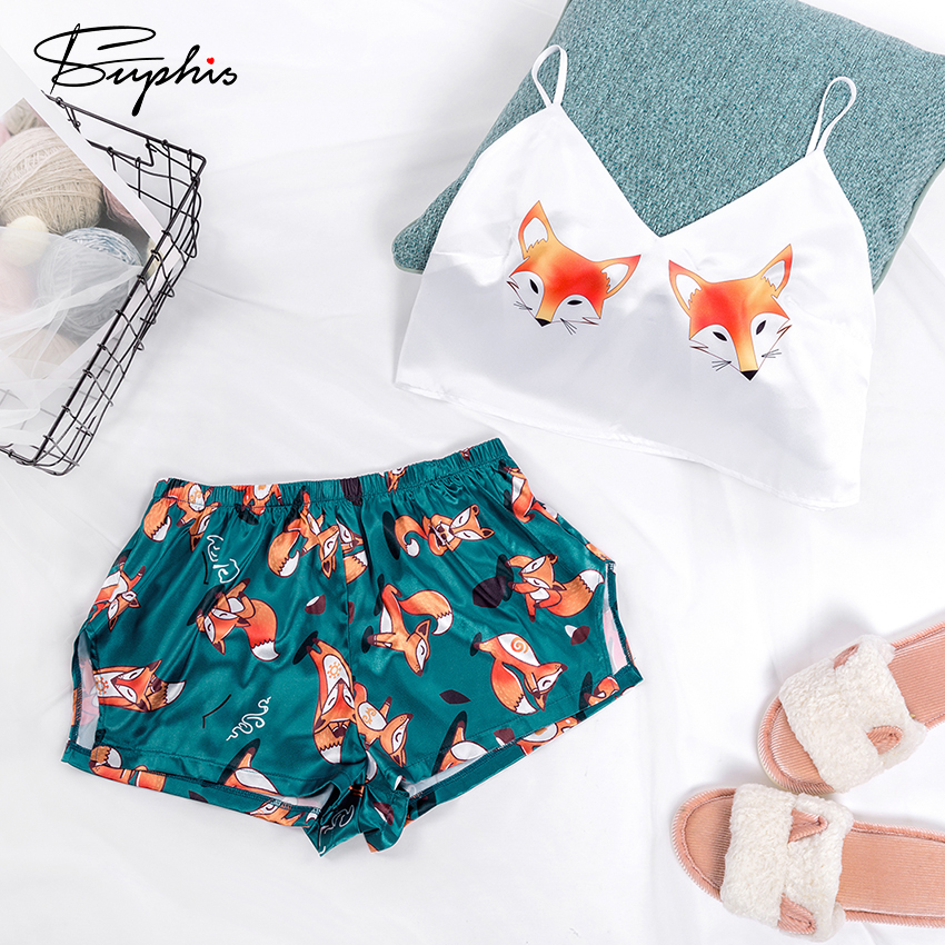 Suphis Fox Cartoon Print Lovely Sleepwear Summer V Neck Sexy Pyjamas Women Spaghetti Strap Loose Pyjama Satin Femme Home Suit
