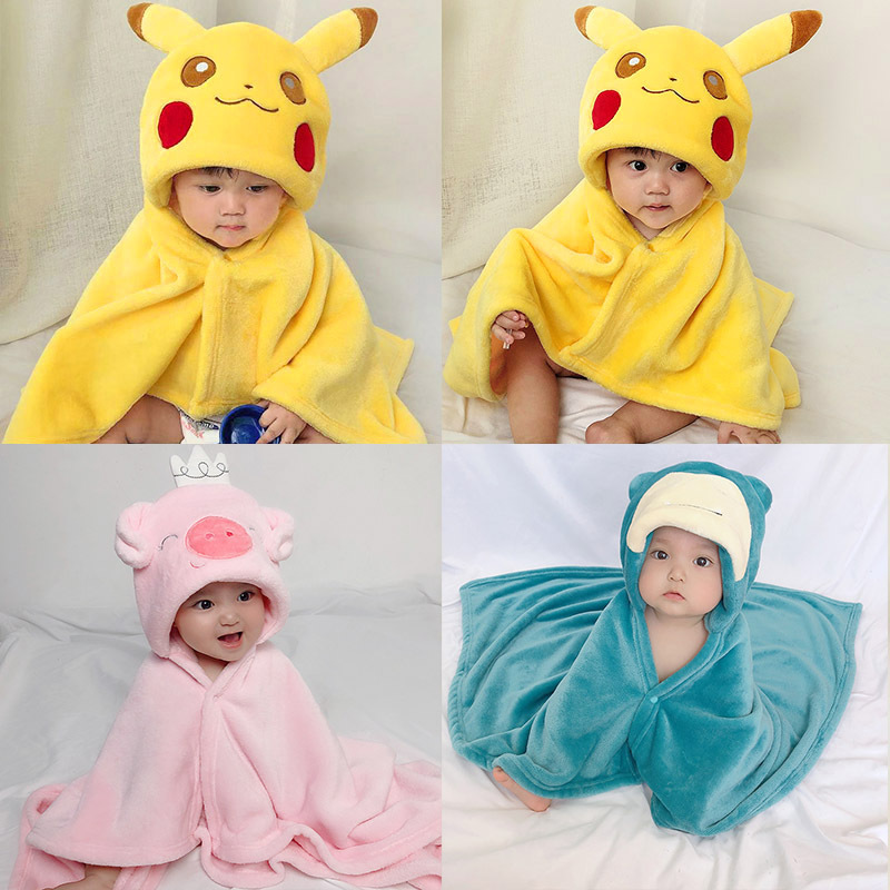 Pikachu Cute Shaped New Born Baby Towel Baby Hooded Bathrobe Soft Infant Blanket Bath Towel Baby Toalla Baby Towels