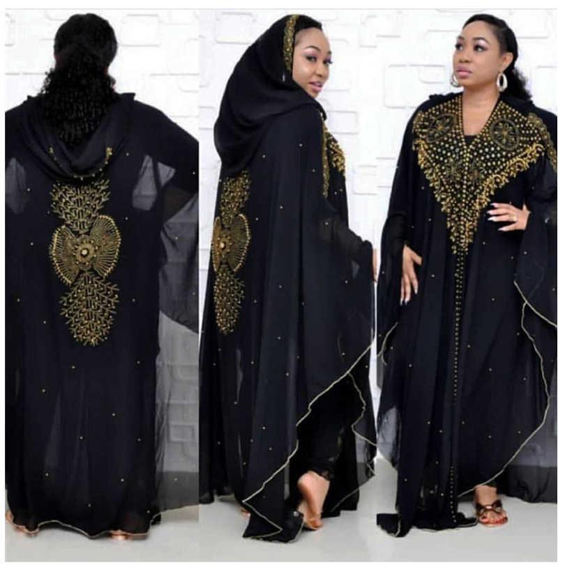 زائد حجم فساتين للنساء Dashiki الأفريقية حبات ألماس الأفريقي الملابس العباءة دبي رداء مساء طويل مسلم اللباس مقنعين الرأس