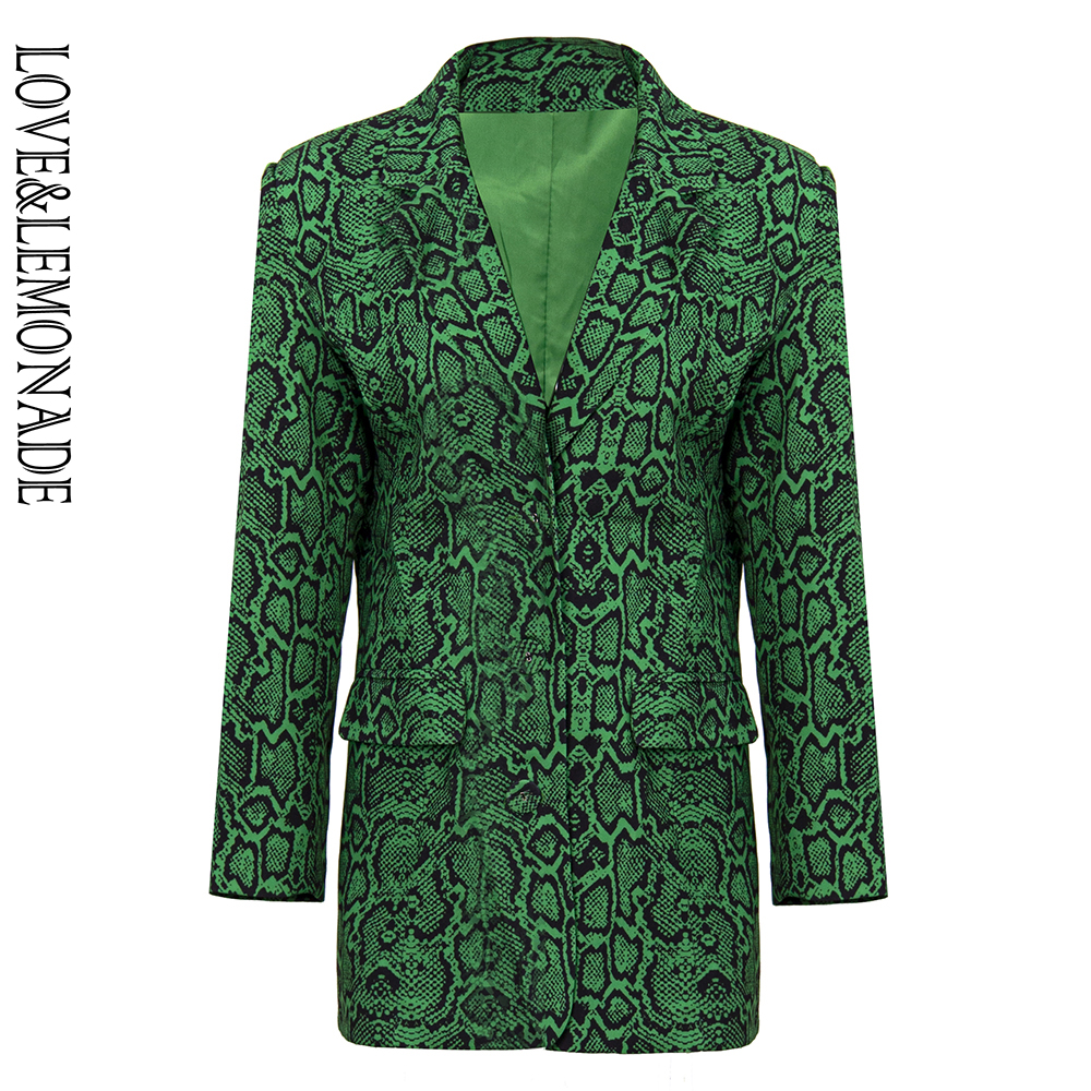 LOVE&LEMONADE Green Snake Material Fit Type Lapel Collar Casual Blazer LM90130