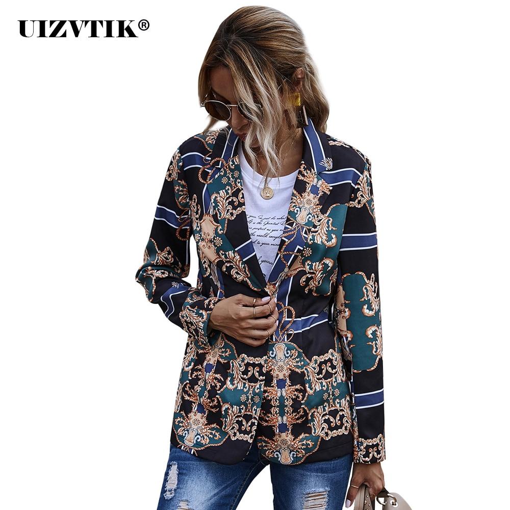 Vintage Print Long Blazer Coat Women Jacket 2020 Autumn Sexy Slim Single-breasted blazer Female Tops Casual Oversized Suit Coat