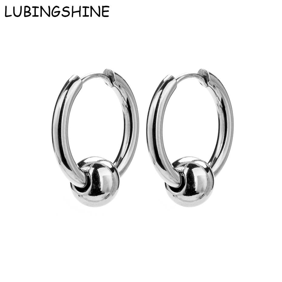 LUBINGSHINE Fashion Earrings for Women Man Jewelry Simple Stainless Steel Silver color Round Circle Hoop Earrings